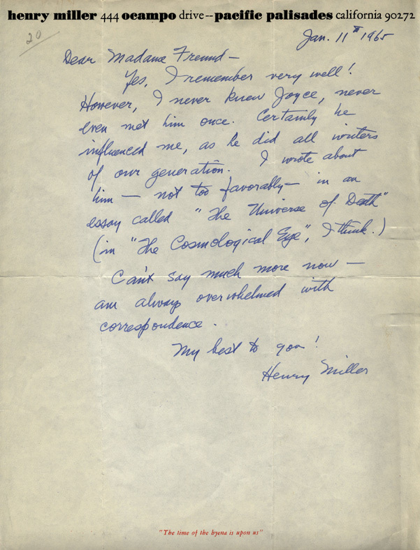 Letter from Henry Miller to Gisèle Freund