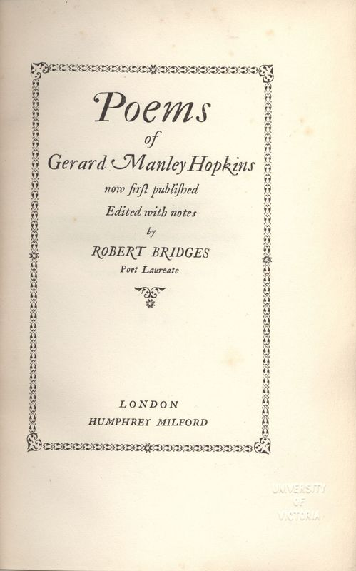 Title Page of <em>Poems of Gerard Manley Hopkins</em>