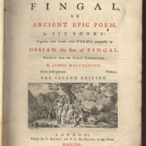 Title of Poems of Ossian 1762