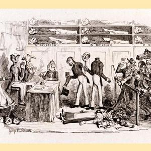 "Bentley's Miscellany (George Cruikshank's illustration for Mudfog Papers by Charles Dickens: ""Automaton Police Office and real Offenders"""