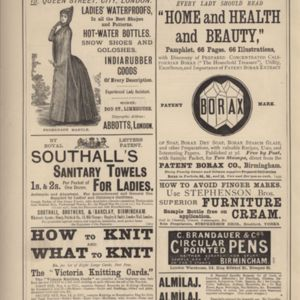 3rd page of advertisements in Woman's World Dec 1887