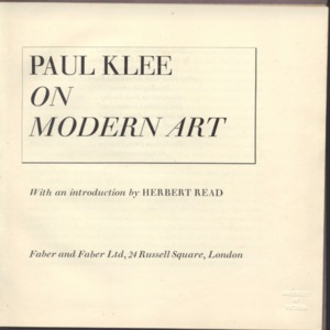 Title Page of On modern art with Introductory and Publisher Accreditation.