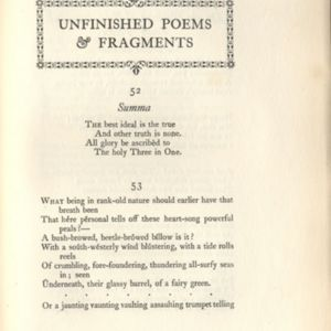 Unfinished Poems & Fragments
