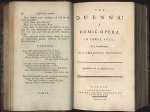 Title Page of <em>The Duenna </em>by <span>Richard Brinsley Sheridan</span>