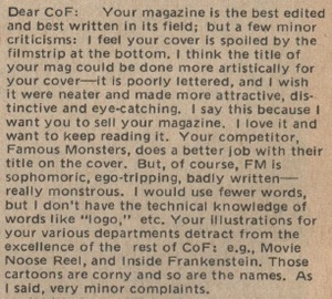 Castle of Frankenstein, Vol.5 No.4, Ron Peterson Letter