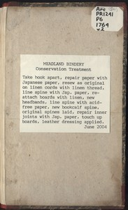Meadland Bindery Conservation Treatment Note
