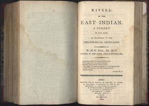 Title page of <em>Rivers: or the East Indian </em>by M. G. Lewis, Esq. M.P.