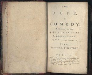 Title Page of <em>The Dupe </em>by Frances Chamberlain Sheridan