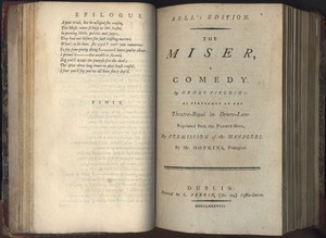 Title Page of <em>The Miser </em>by Henry Fielding
