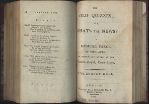 Title Page of <em>The Old Quizzes; or, What's the News? </em>by Robert Hall