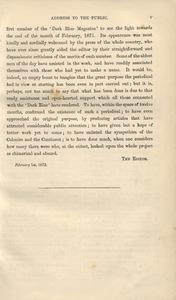 <em>The Dark Blue</em> Vol. II, Address to the Public