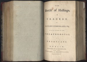 Title Page of <em>The Battle of Hastings</em> by Richard Cumberland, Esq.