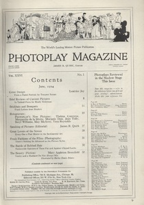 Photoplay. Vol. 6, No. 1., Table of Contents