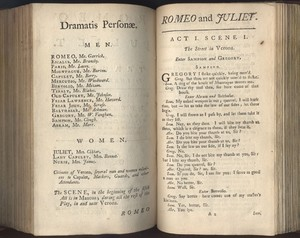 First Two Pages of Garrick's Revision of <em>Romeo and Juliet</em>